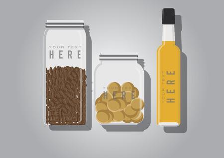 Vector of spices and olive oil Ilustração