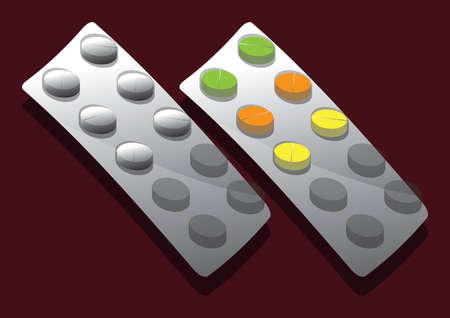 Vector of pills in blister pack