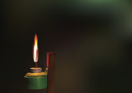 lamp light: Vector of oil lamp