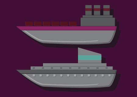 Vector of cruise and cargo ship