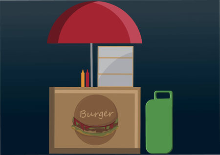 out of gas: Vector of burger booth