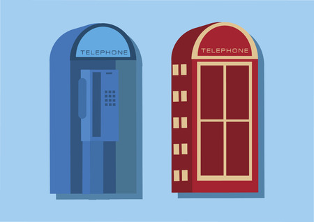english culture: Vector of telephone booths