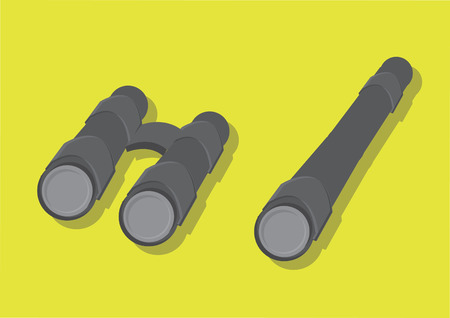 Vector of binoculars and telescope