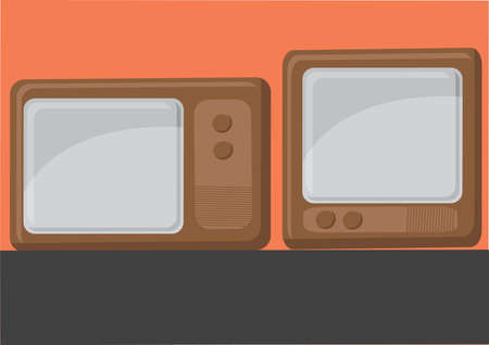 Vector of vintage television set