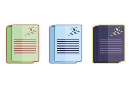 Illustratie van drie stapels examens Stock Illustratie