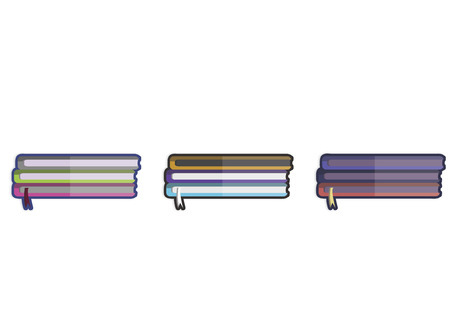 Illustration of three stacks of books