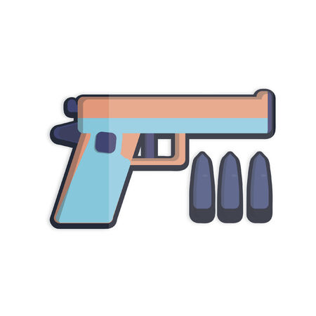 Illustration of a gun and three bullets Иллюстрация