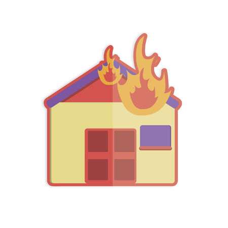 Illustration of a house on fire