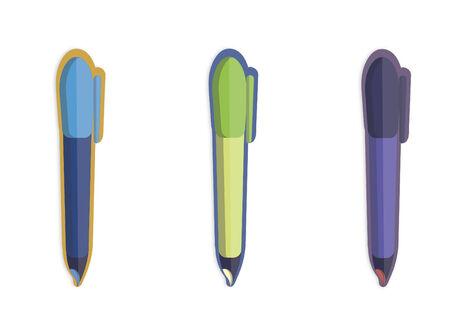 Illustration of three pens