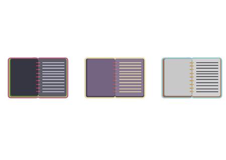 Illustration of three opened notebooks Illustration