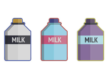 Illustration of three milk bottles