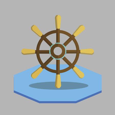 Illustratie van een schip wiel Stock Illustratie