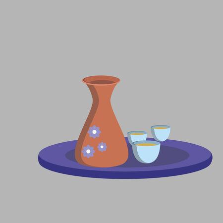 Illustration of sake jug and cups Çizim