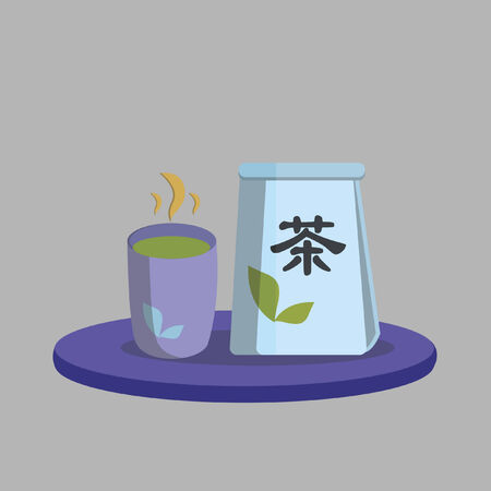 Illustration of green tea packet and cup Illustration