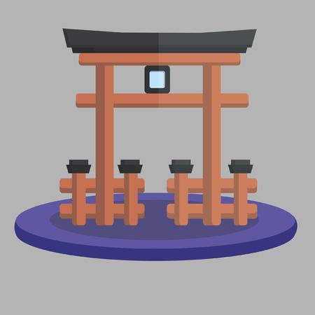 shrine: Vector of Japanese temple gate Illustration