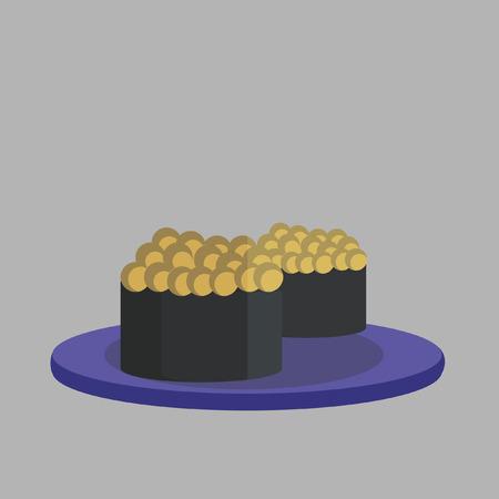 Illustration of fish roe sushi