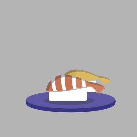 Japanese prawn sushi Illusztráció