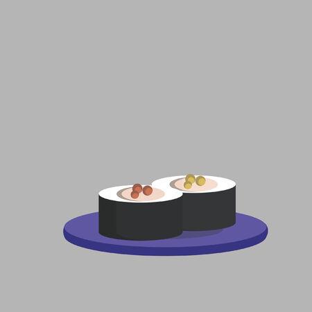 Illustratie van rode kaviaar sushi