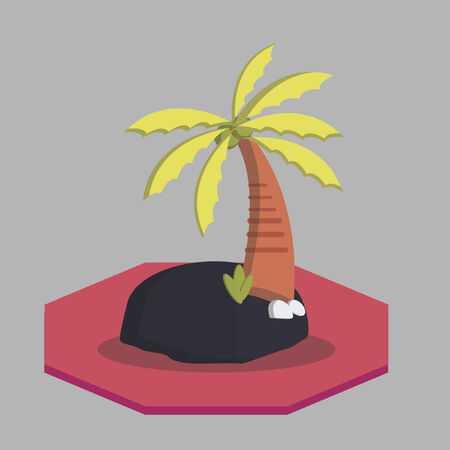 Vector of an island with palm tree