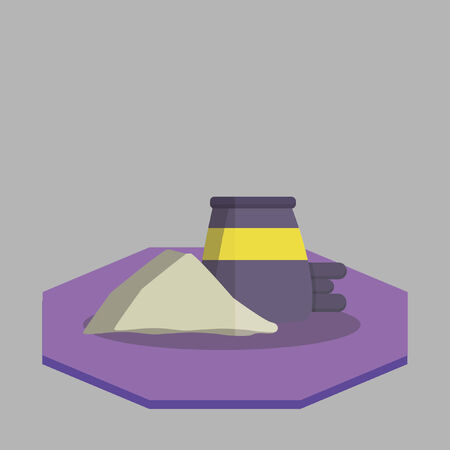 cement pile: Vector of a pile of cement and barrel