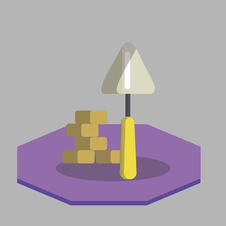 Vector of a shovel with bricks Illusztráció