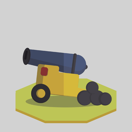 cannon ball: Vector of an old cannon