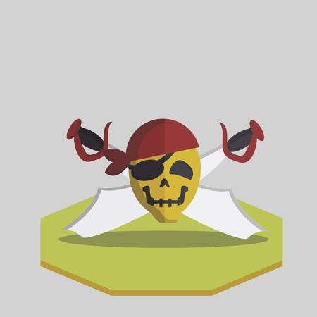 Vector of a pirate skull and cross swords Vector