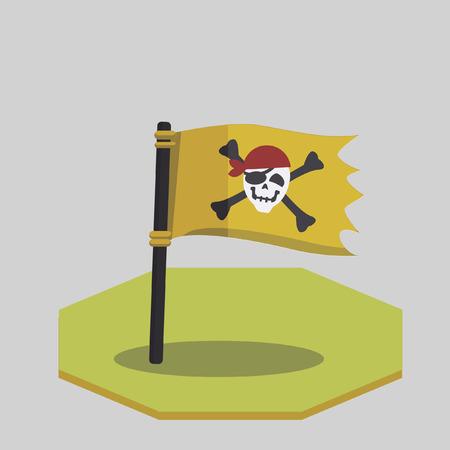 Vector of a pirate flag Ilustração