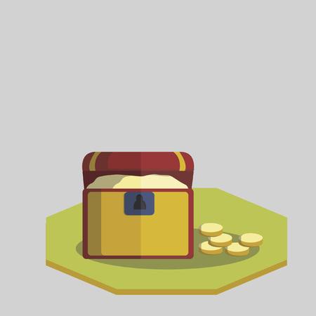 Wooden treasure box and gold