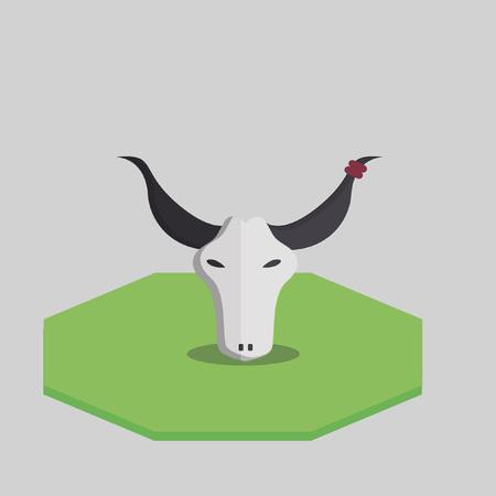 Illustratie van een stier schedel
