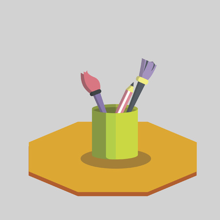 paint container: Vector of paint brushes and pencil Illustration