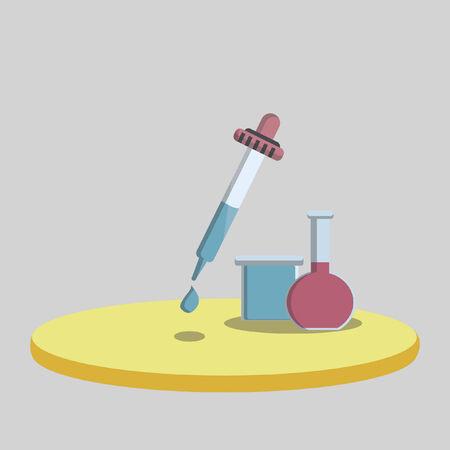 substances: Vector of a laboratory flask and liquid dropper