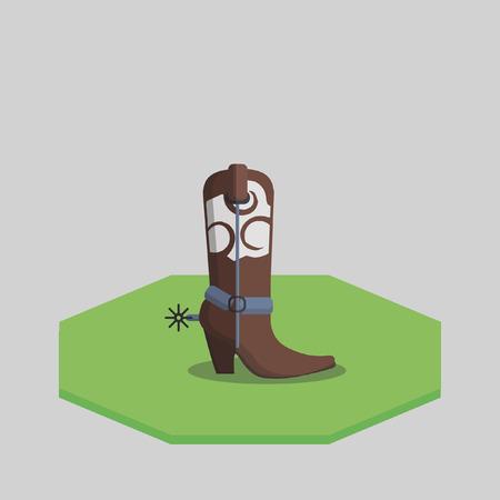 no heels: Illustration of a cowboy boot