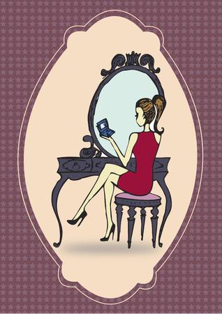 Vrouw bij een kaptafel Stock Illustratie