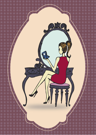 reflection mirror: Woman at a dressing table