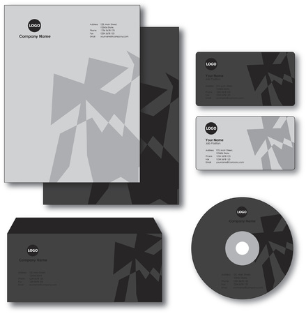 Company paper, envelope, business card and CD Vector