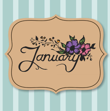 Vector with text saying January Ilustrace