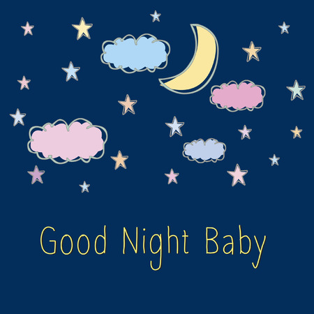 Vector with text saying good night baby