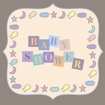 Vector with text saying baby shower Illusztráció