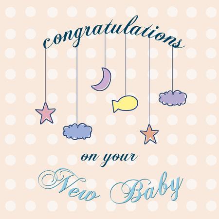 あなたの新しい赤ん坊のお祝いの言葉を言ってテキストとベクトル