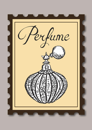 Stamp showing perfume Vector