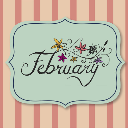 Vector with text saying february