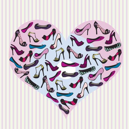 Shoes in a heart Illusztráció