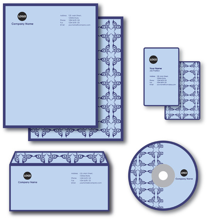 Company paper, envelope, business card and CD