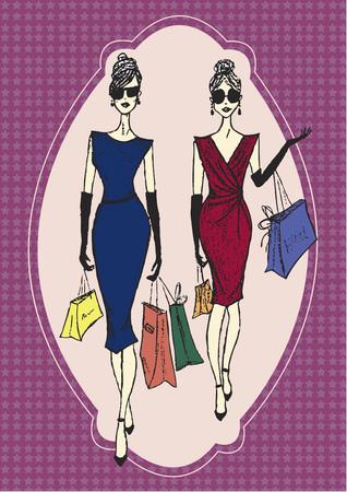 stylish women: Stylish women Illustration