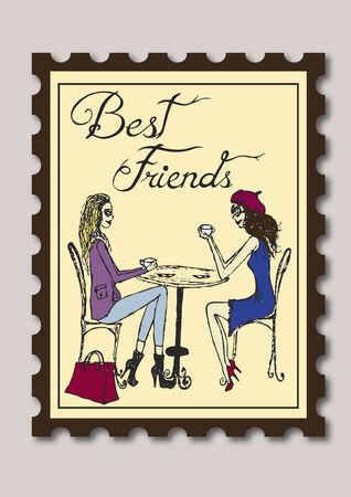best friends: Stamp showing best friends having tea Illustration