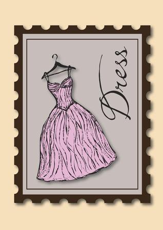 Stamp showing a dress on hanger