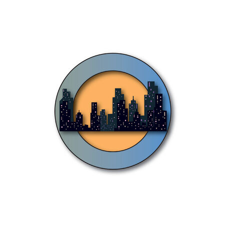 Badge of buildings and skyscrapers