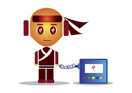 忍者文字自身を再充電  イラスト・ベクター素材