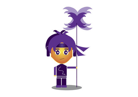 Ninja character with a staff